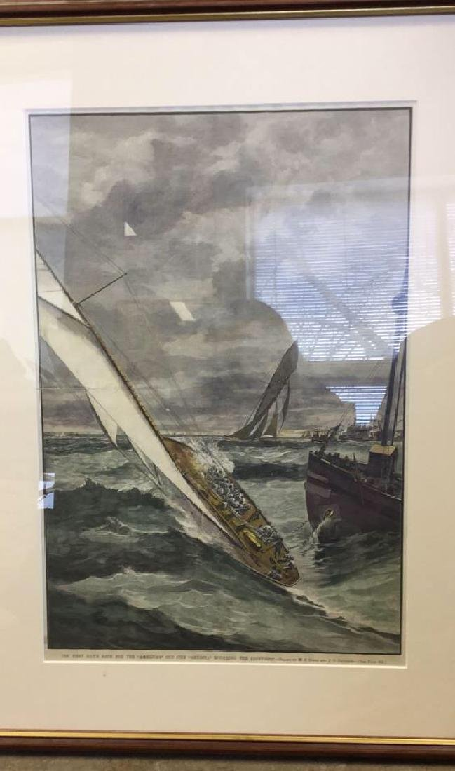 America's Cup Wood Engraving Hand Colored 1885 - 2