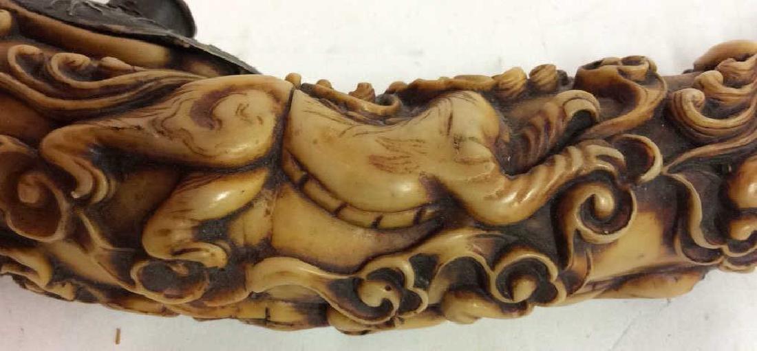 Intricately Carved Vintage Bone Pipe
