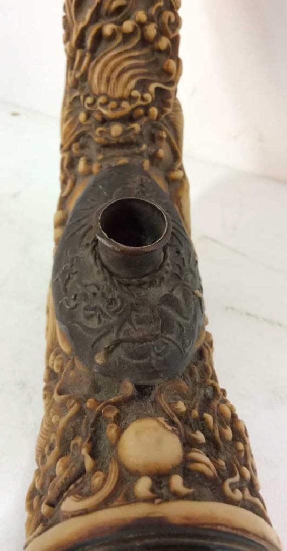Intricately Carved Vintage Bone Pipe - 4