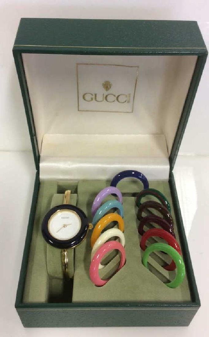 GUCCI Designer Ladies Wristwatch w Box and Bevels