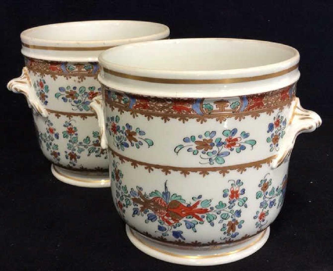 Pair Vintage Porcelain Oriental Painted Cache Pots