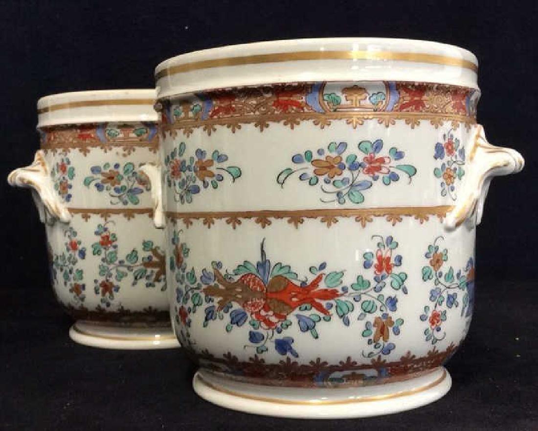 Pair Vintage Porcelain Oriental Painted Cache Pots - 2