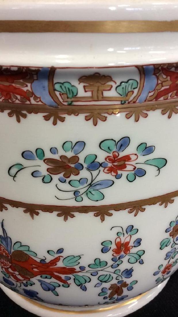 Pair Vintage Porcelain Oriental Painted Cache Pots - 3