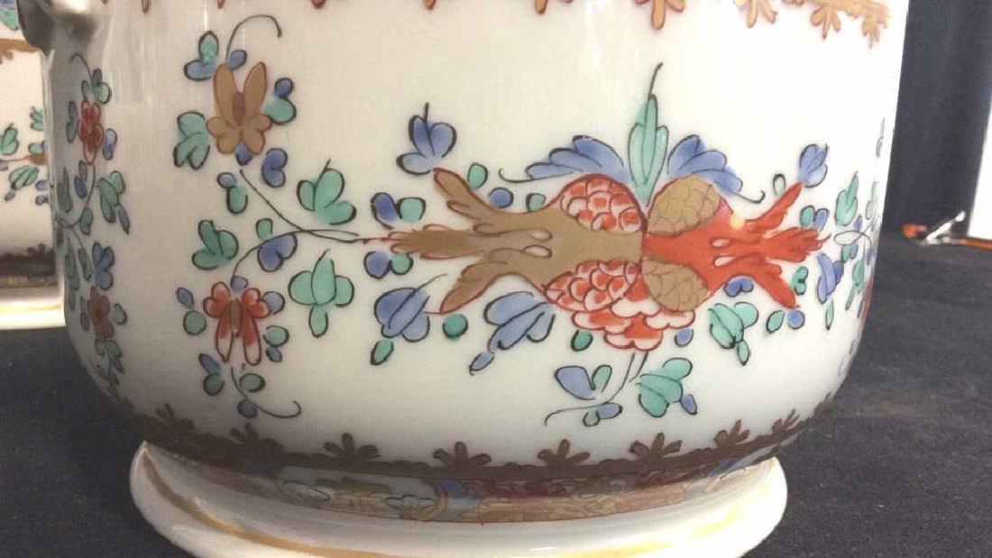 Pair Vintage Porcelain Oriental Painted Cache Pots - 6