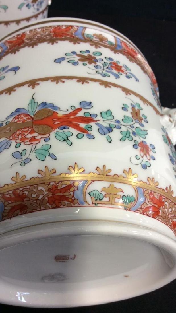 Pair Vintage Porcelain Oriental Painted Cache Pots - 7