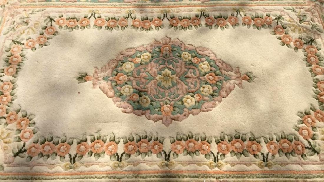 Floral Detailed Multi Toned Fringed Rug