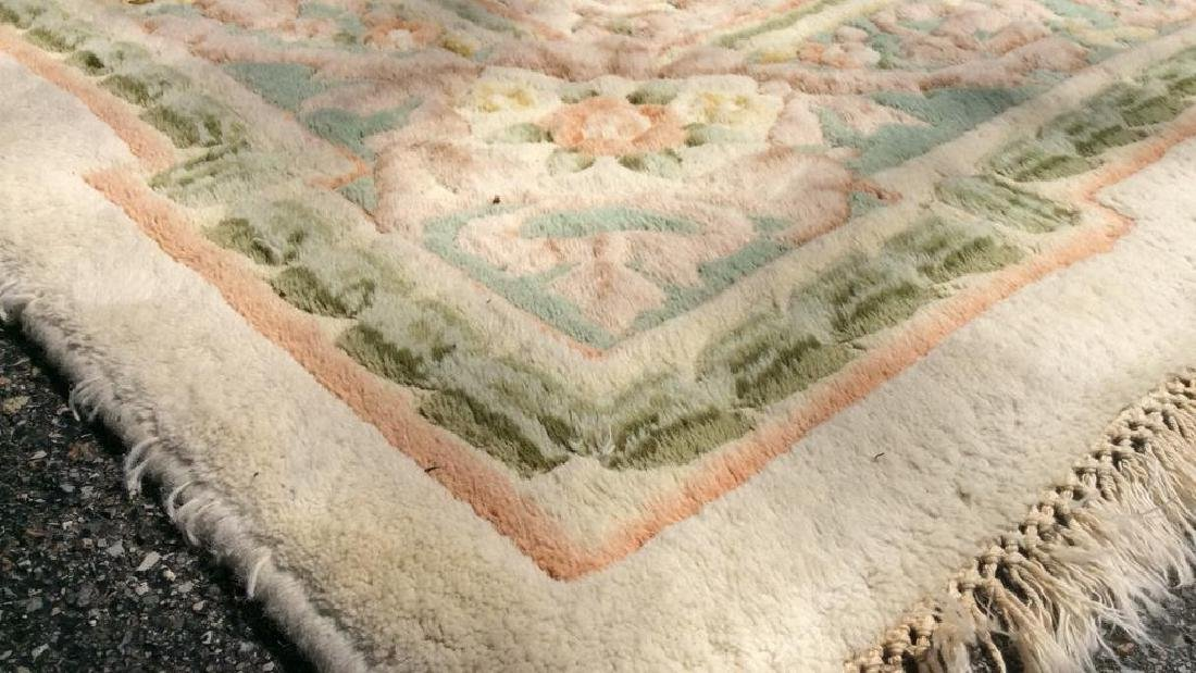 Floral Detailed Multi Toned Fringed Rug - 6