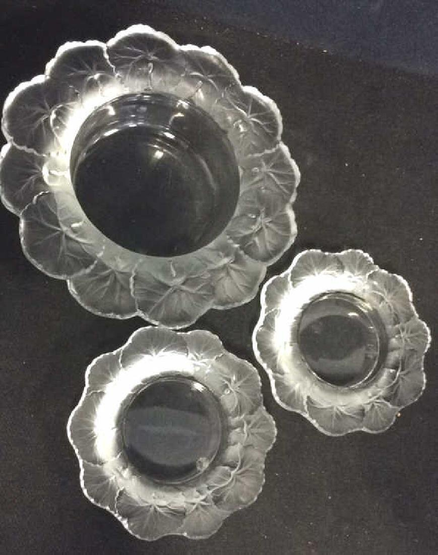 Lot 3 Vintage LALIQUE Art Glass Crystal Dishes