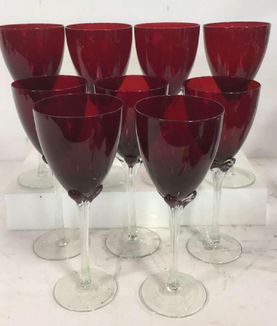 Set 9 Ruby Red Toned Crystal Stemware