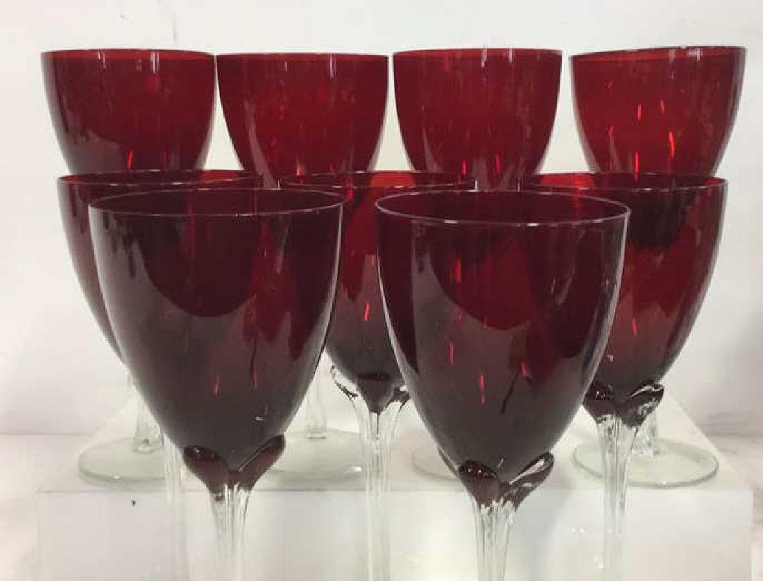 Set 9 Ruby Red Toned Crystal Stemware - 2