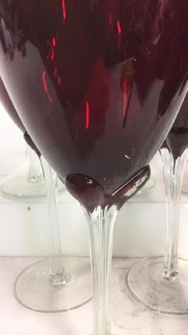Set 9 Ruby Red Toned Crystal Stemware - 4