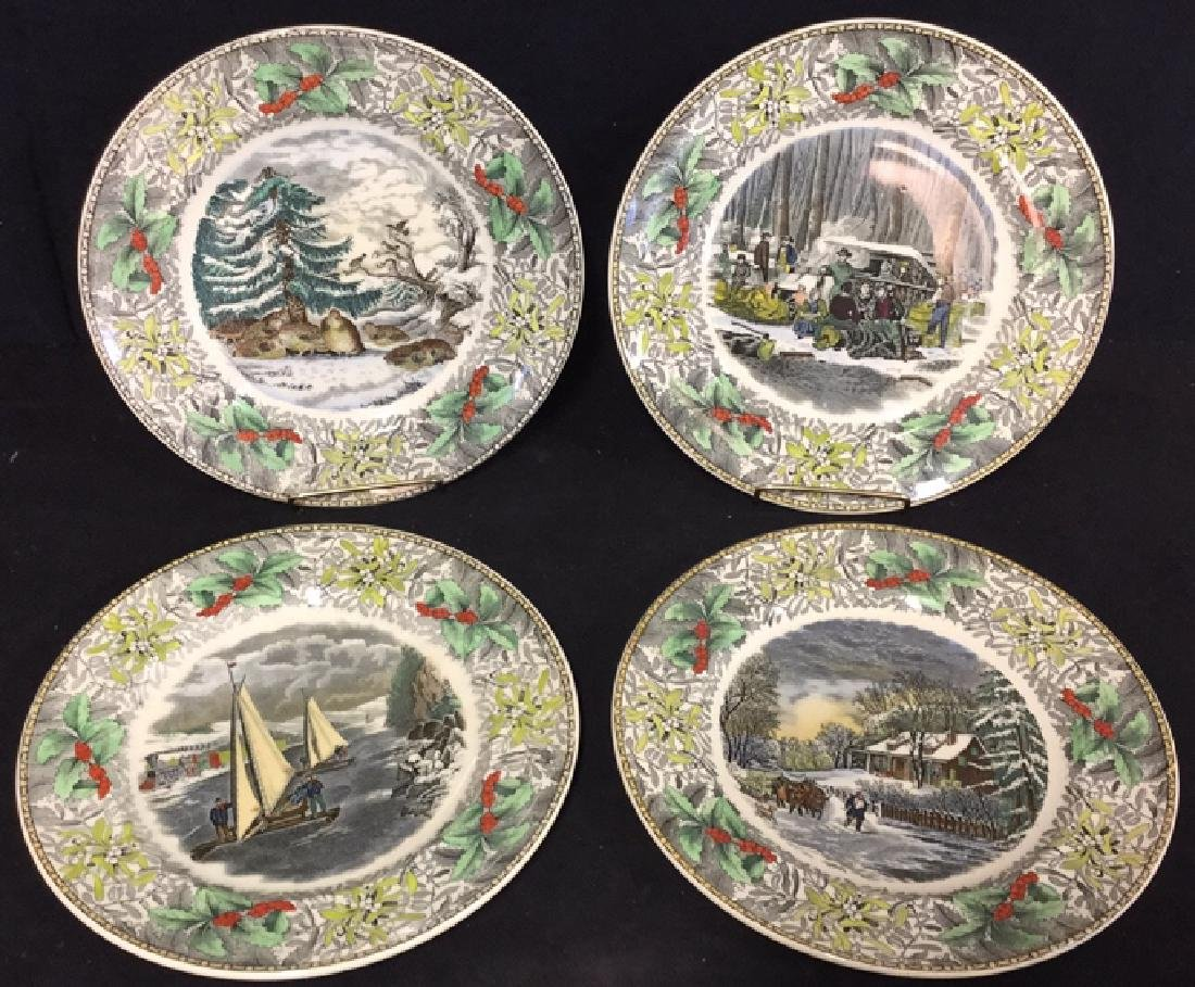 Lot 4 Currier & Ives Winter Scenes Plates