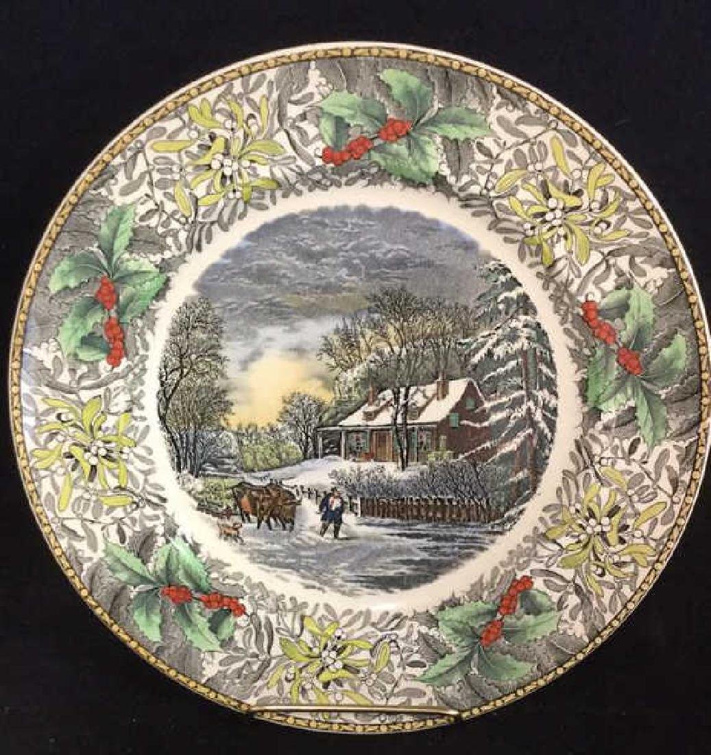 Lot 4 Currier & Ives Winter Scenes Plates - 5
