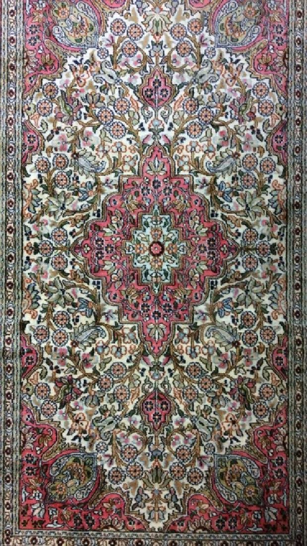 Handmade Intricately Detailed Silk Rug W Fringes - 2