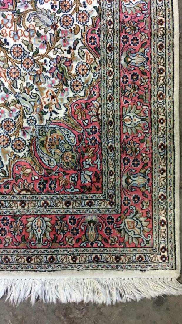 Handmade Intricately Detailed Silk Rug W Fringes - 5