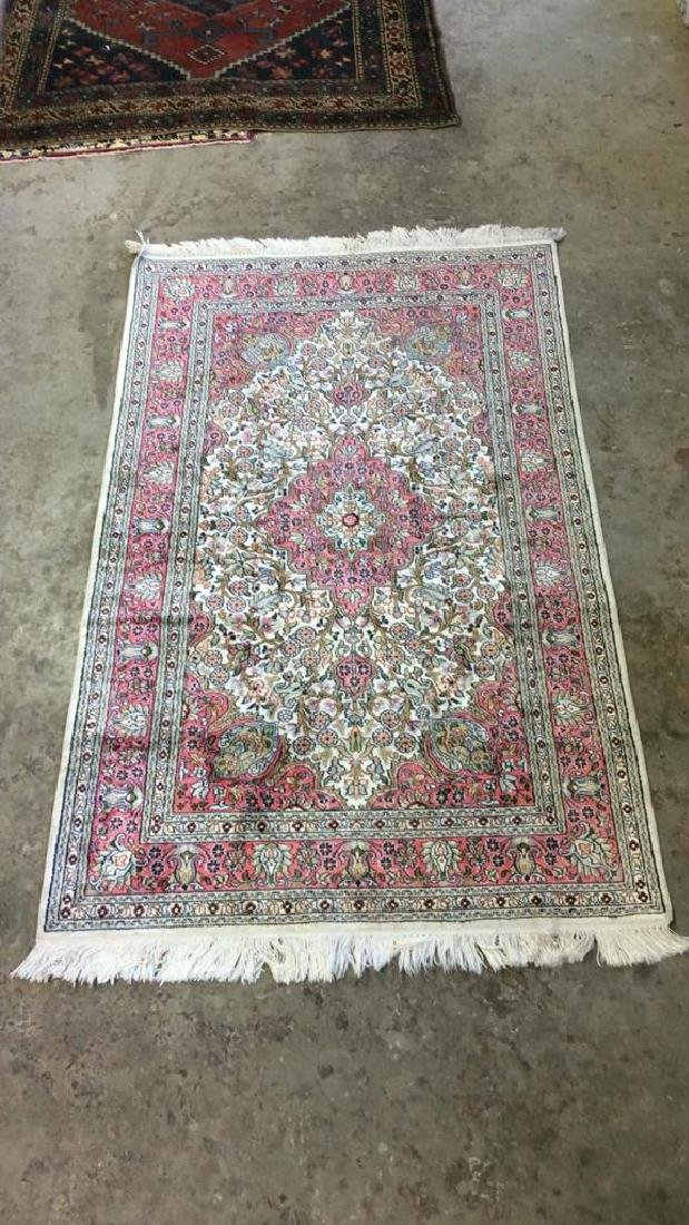 Handmade Intricately Detailed Silk Rug W Fringes - 7