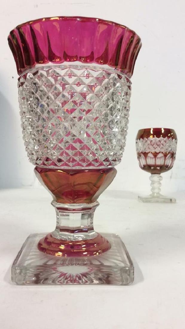 Lot 2 Art Glass Cut Crystal Goblets or Vases - 10