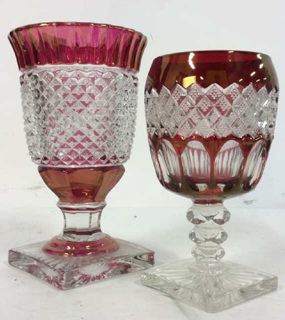 Lot 2 Art Glass Cut Crystal Goblets or Vases