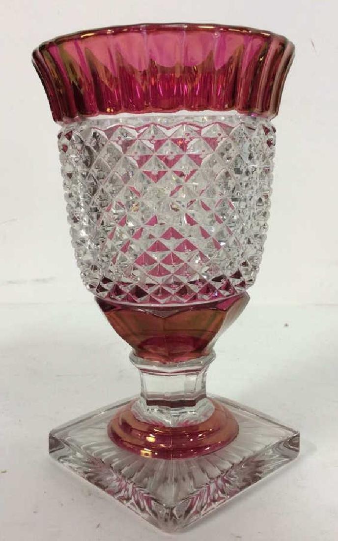 Lot 2 Art Glass Cut Crystal Goblets or Vases - 2