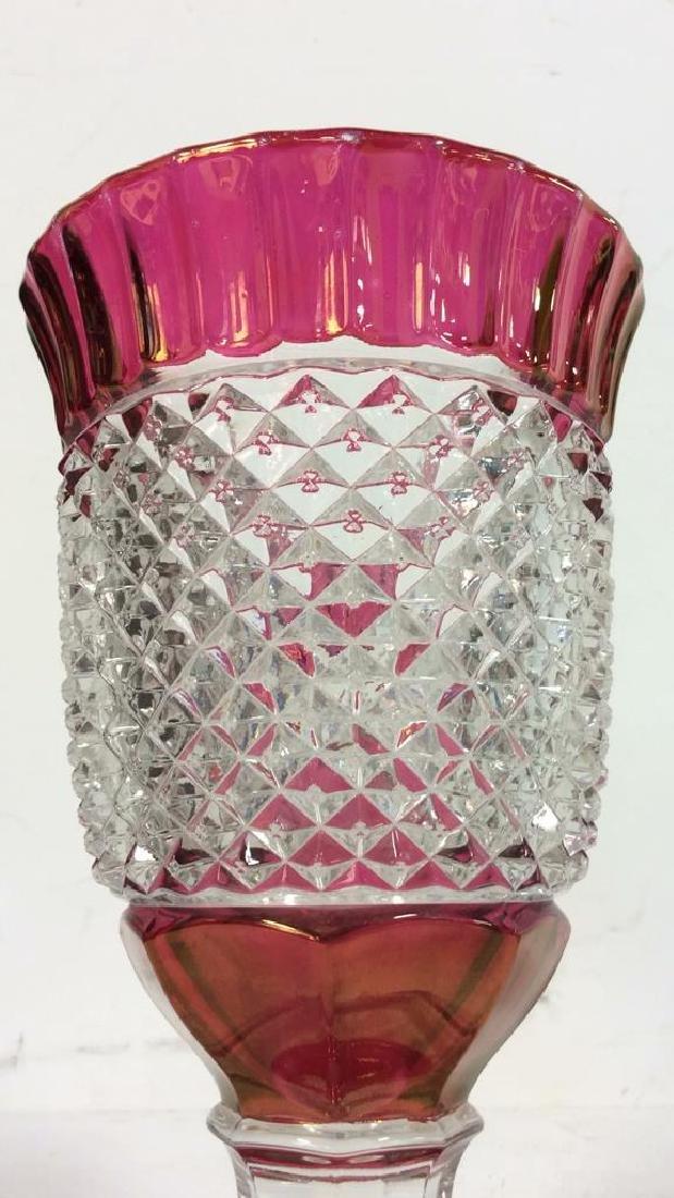 Lot 2 Art Glass Cut Crystal Goblets or Vases - 6