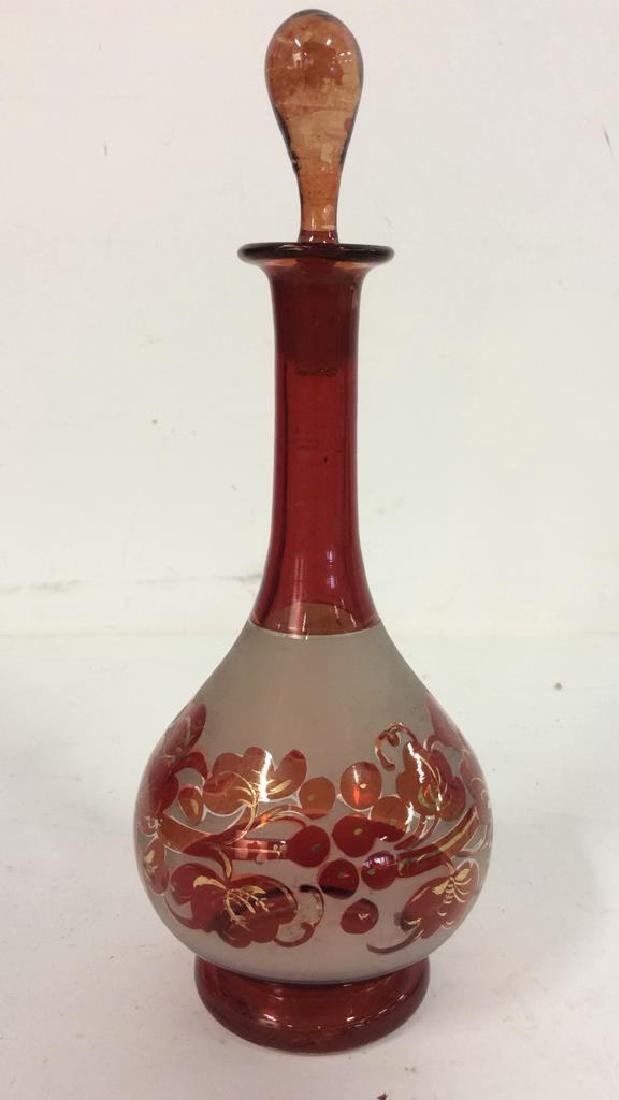 Art Glass Amber Toned Decanter - 2