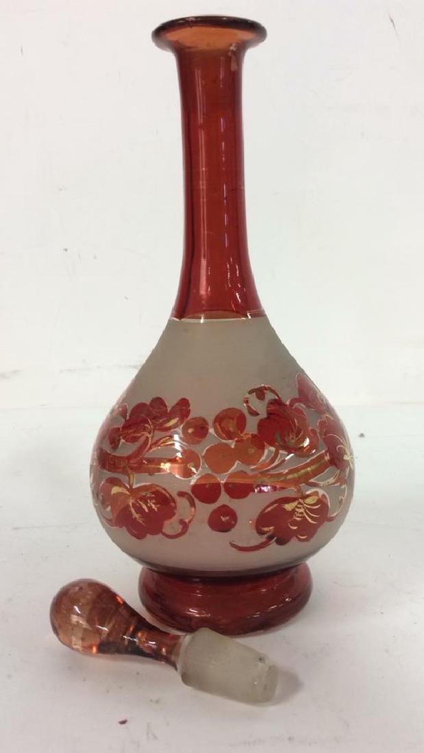 Art Glass Amber Toned Decanter - 7