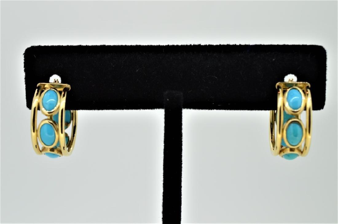 Ladies 14k Yellow Gold & Turquoise Hoop Pierced Ea
