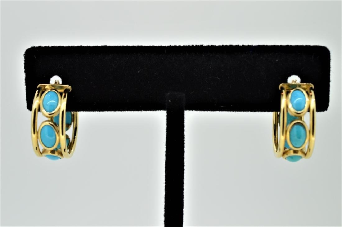 Ladies 14k Yellow Gold & Turquoise Hoop Pierced Ea
