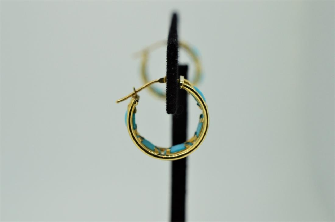 Ladies 14k Yellow Gold & Turquoise Hoop Pierced Ea - 2