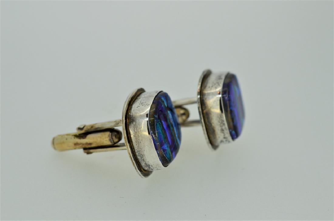 Men's Sterling Silver & Abalone Shell Cufflinks - 2