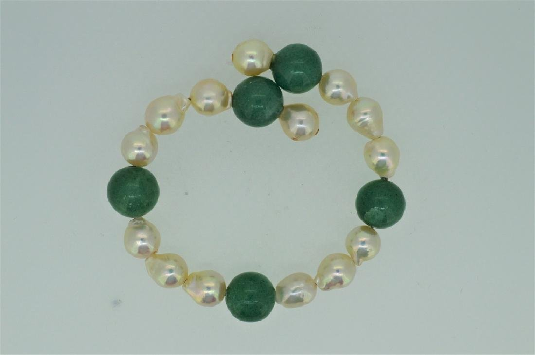 "Ladies 7"" Pearl & Aventurine Bead Cuff Bracelet"