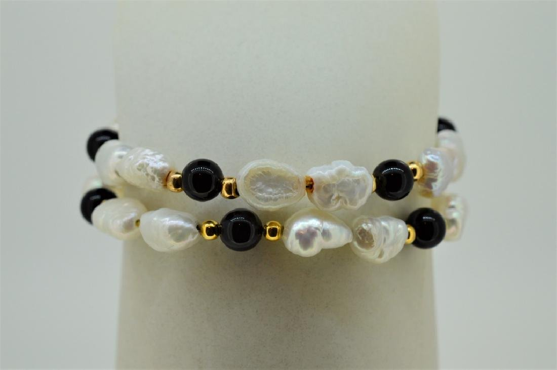 "Ladies Set of Two 7"" Pearl & Onyx Bead Cuff Bracel - 2"