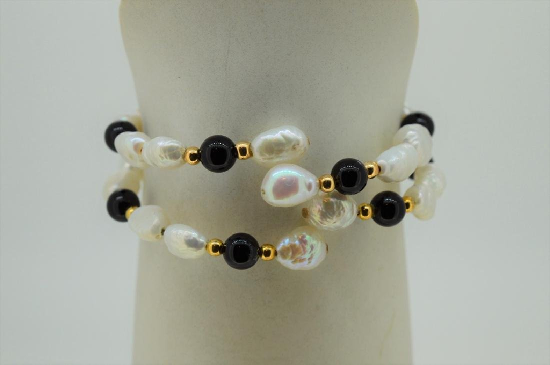 "Ladies Set of Two 7"" Pearl & Onyx Bead Cuff Bracel - 3"