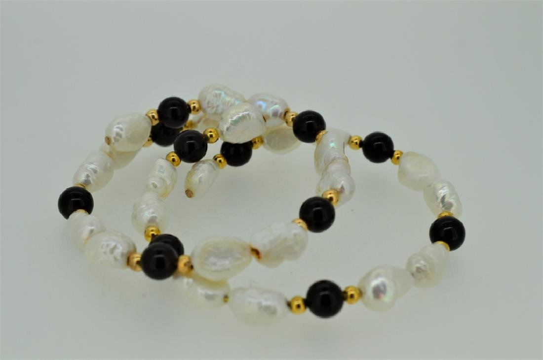 "Ladies Set of Two 7"" Pearl & Onyx Bead Cuff Bracel - 4"