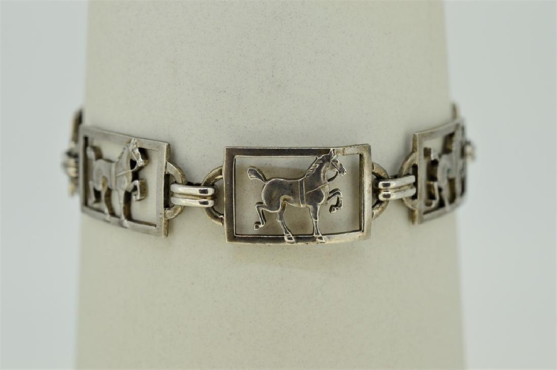 """Ladies 7"""" Sterling Silver Equestrian Bracelet"""
