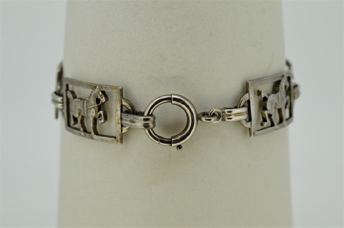 """Ladies 7"""" Sterling Silver Equestrian Bracelet - 2"""