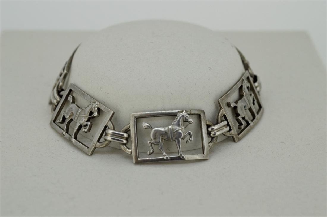 """Ladies 7"""" Sterling Silver Equestrian Bracelet - 3"""