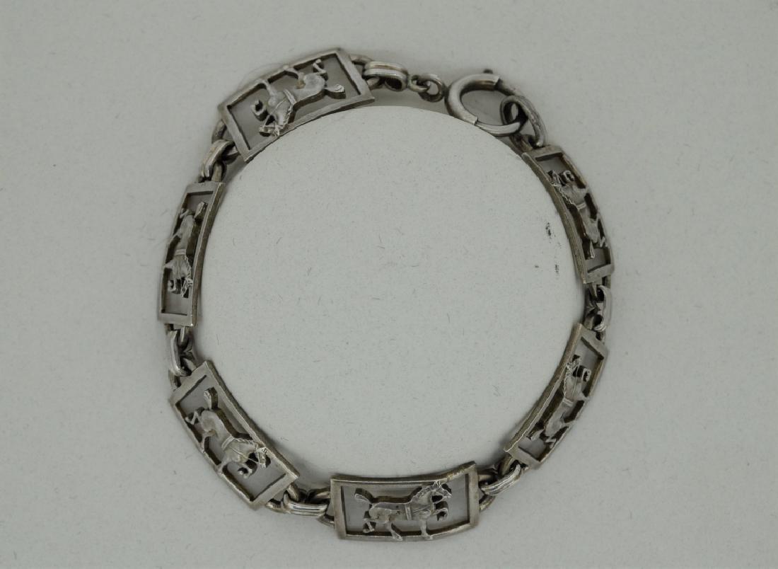 """Ladies 7"""" Sterling Silver Equestrian Bracelet - 4"""