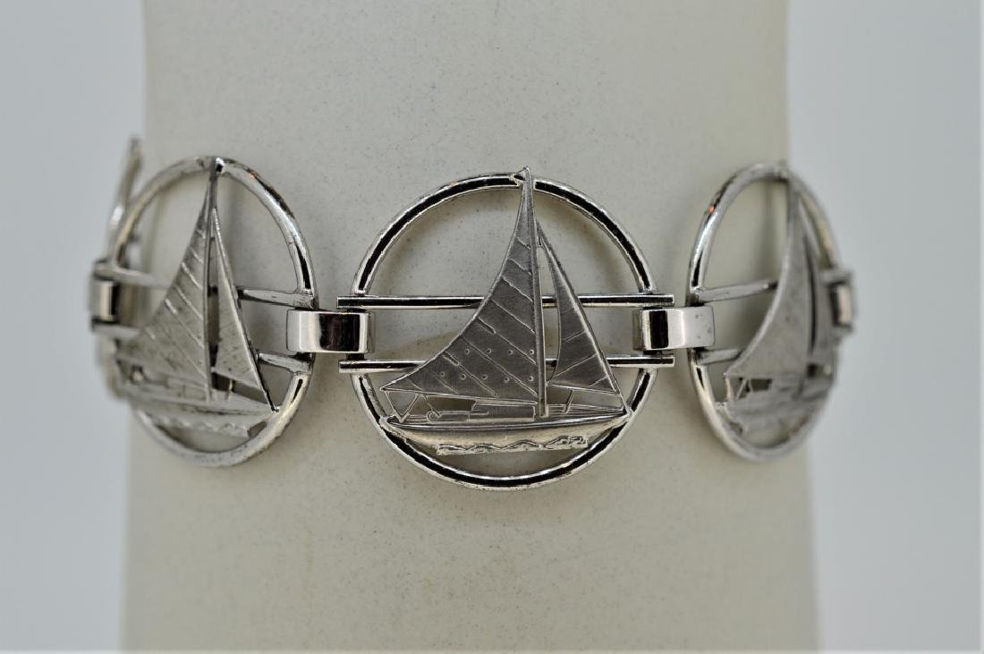 """Ladies 7"""" Sterling Silver Nautical Bracelet"""