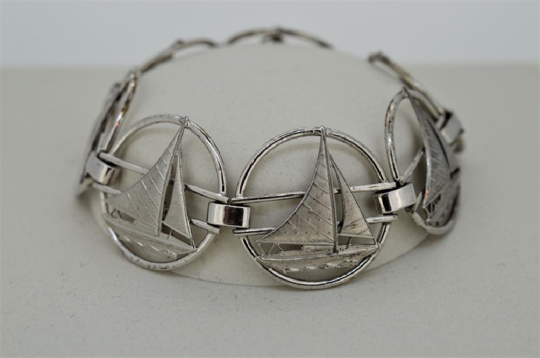 """Ladies 7"""" Sterling Silver Nautical Bracelet - 3"""