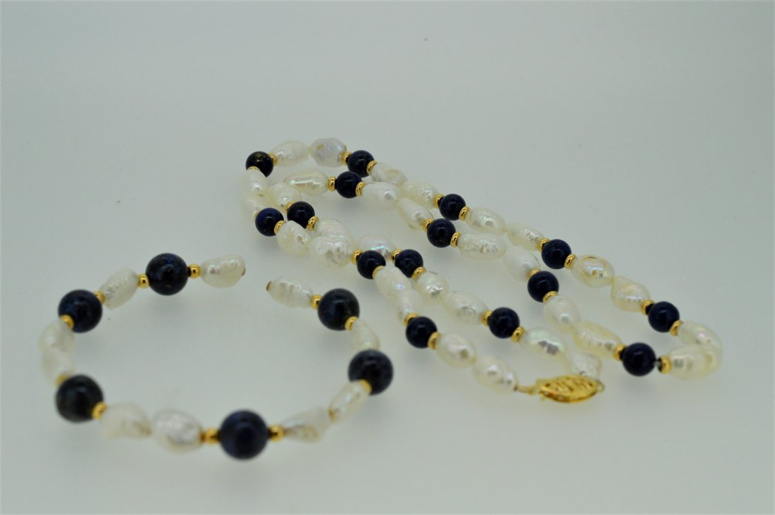 "18"" Lapis & Pearl Necklace with 7"" Matching Cuff B"