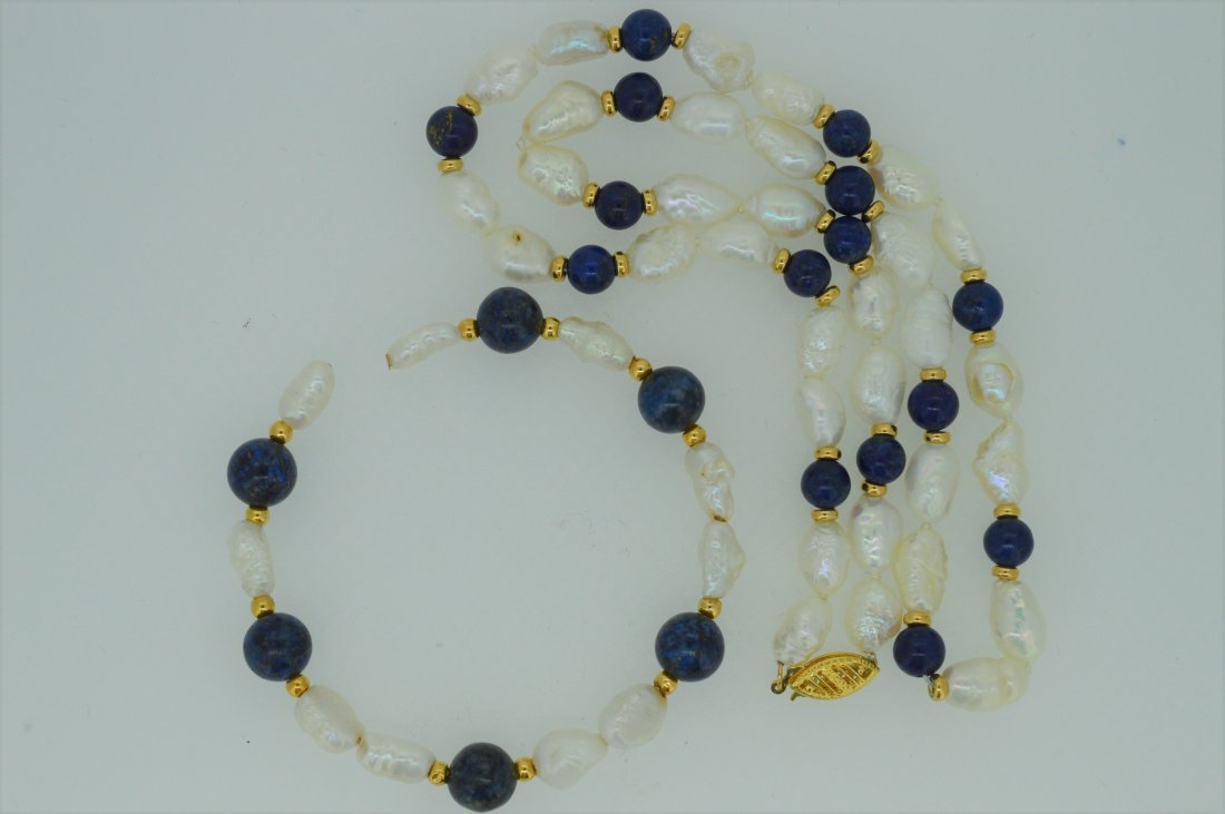 "18"" Lapis & Pearl Necklace with 7"" Matching Cuff B - 2"