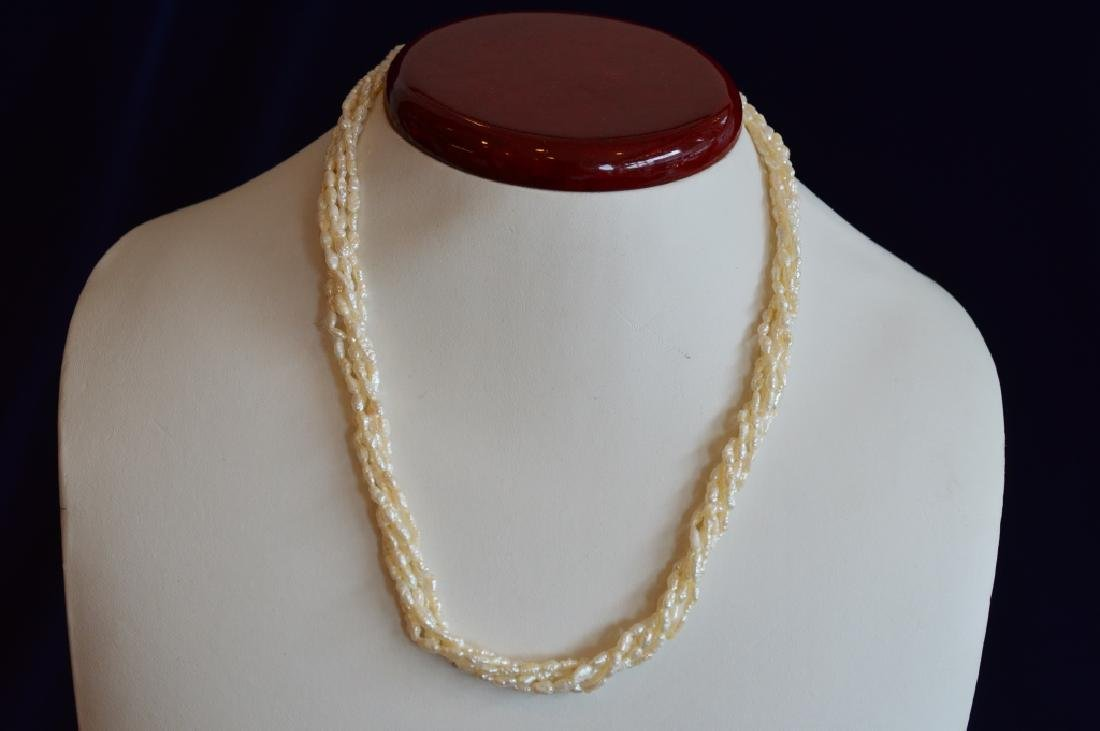 """Ladies 16"""" 5-Strand Freshwater Seed Pearl Necklace"""