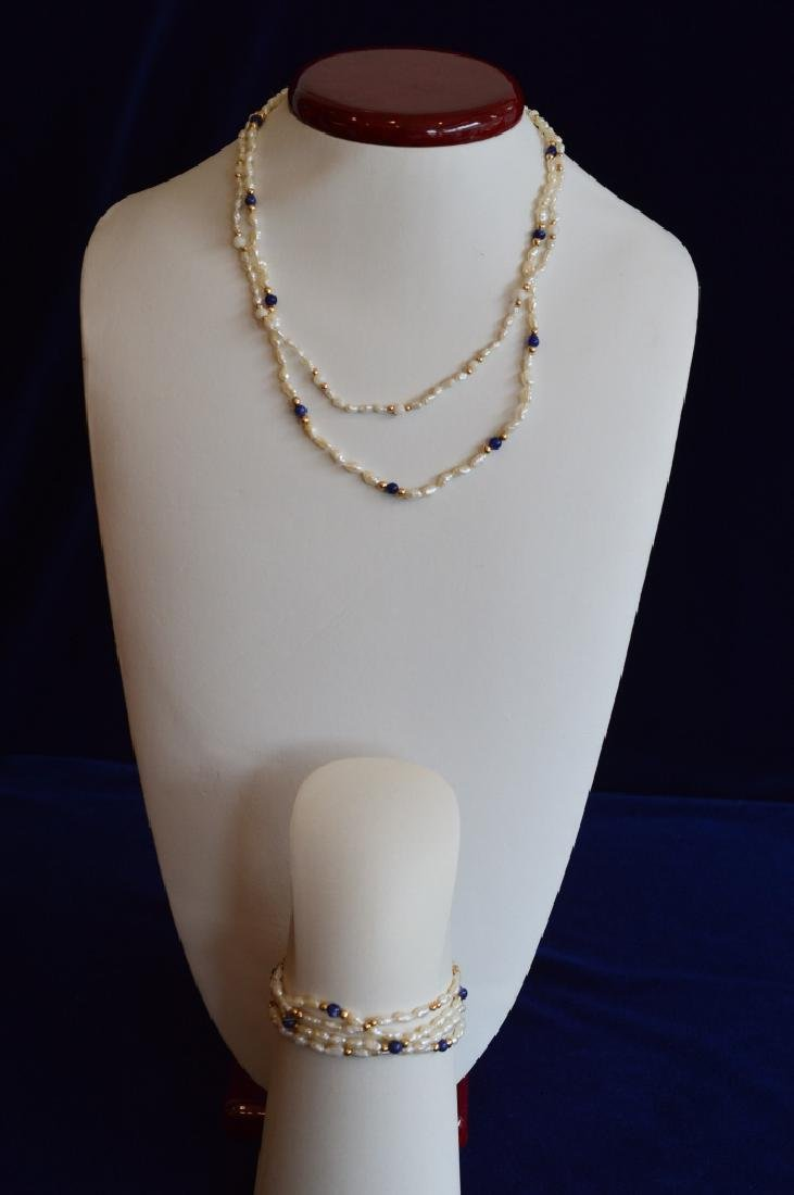 Ladies Set Freshwater Seed Pearl Jewelry w Lapis