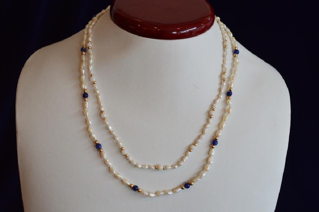 Ladies Set Freshwater Seed Pearl Jewelry w Lapis - 2