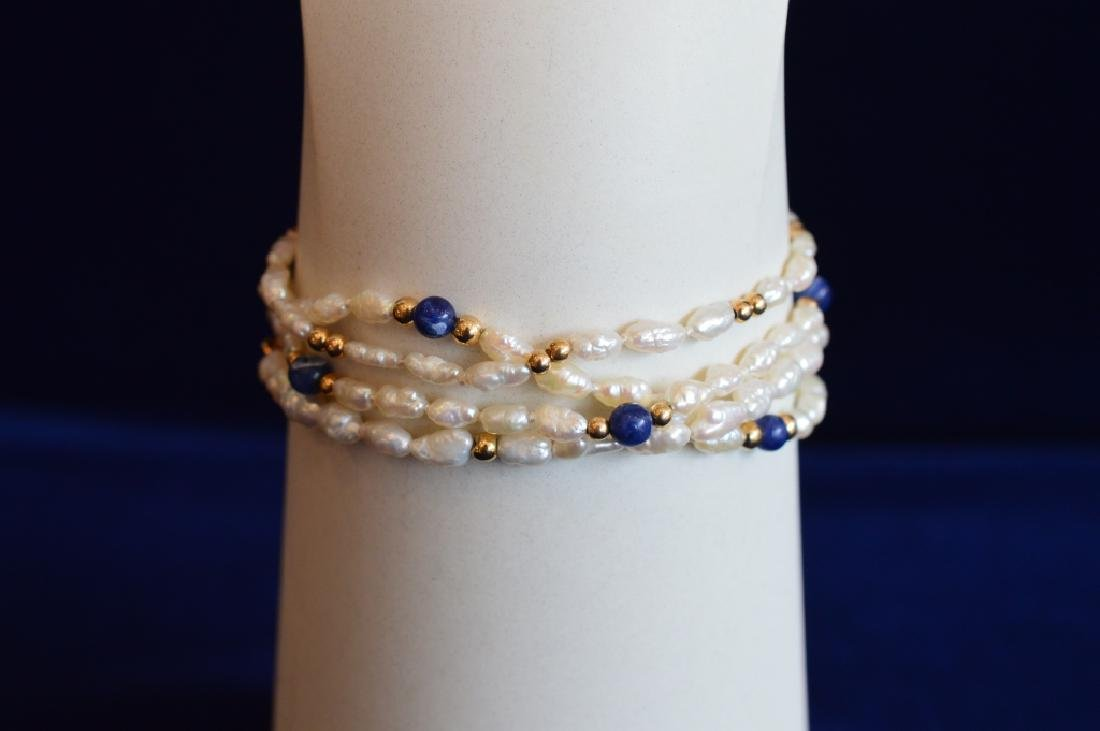 Ladies Set Freshwater Seed Pearl Jewelry w Lapis - 3