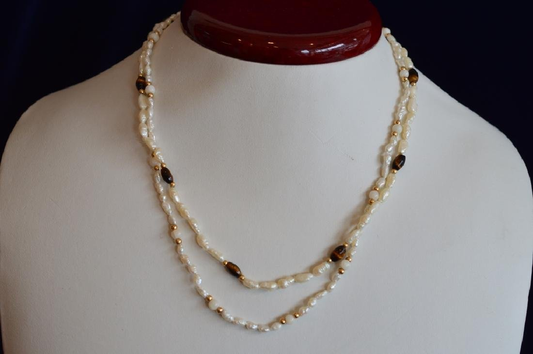 Ladies Set of Freshwater Seed Pearl Jewelry with T - 2