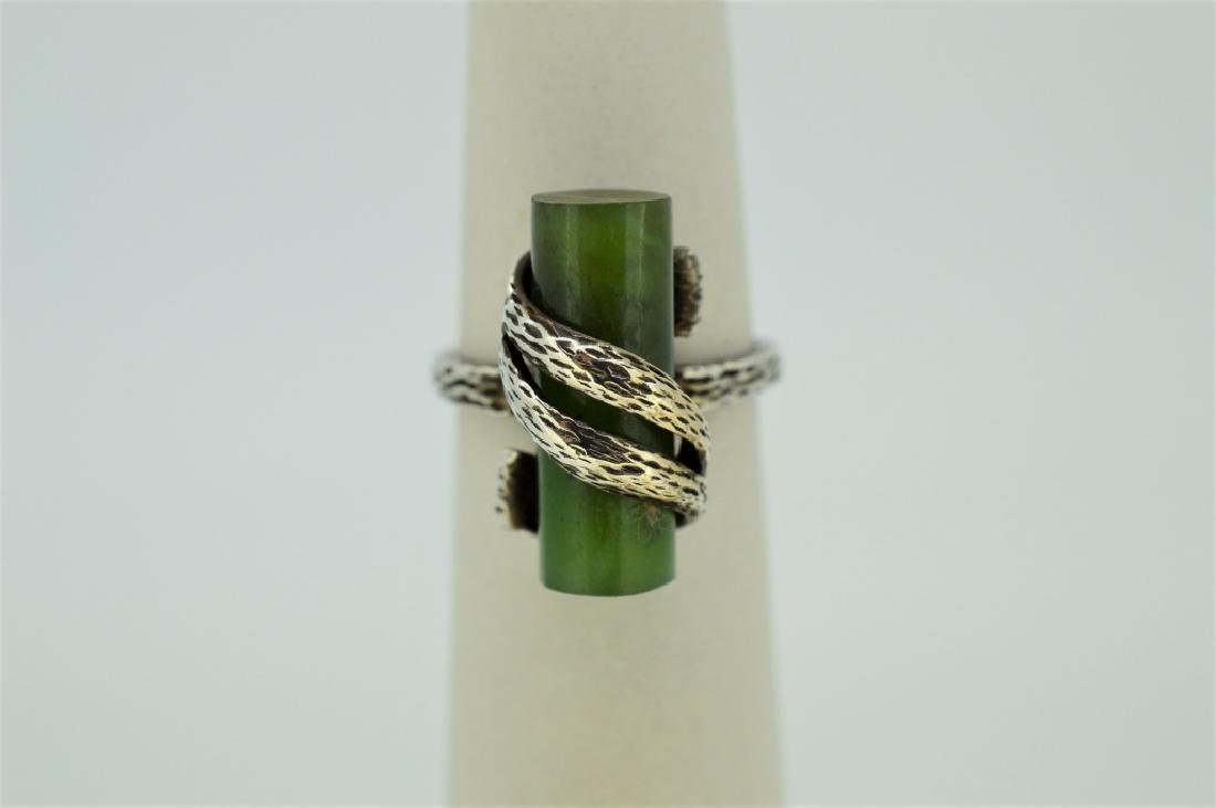 Jade Stone & Sterling Silver Ring