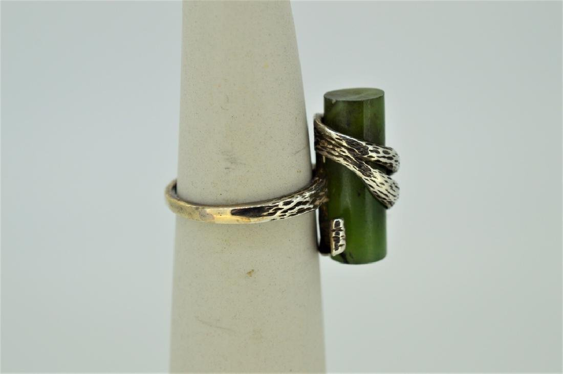 Jade Stone & Sterling Silver Ring - 2