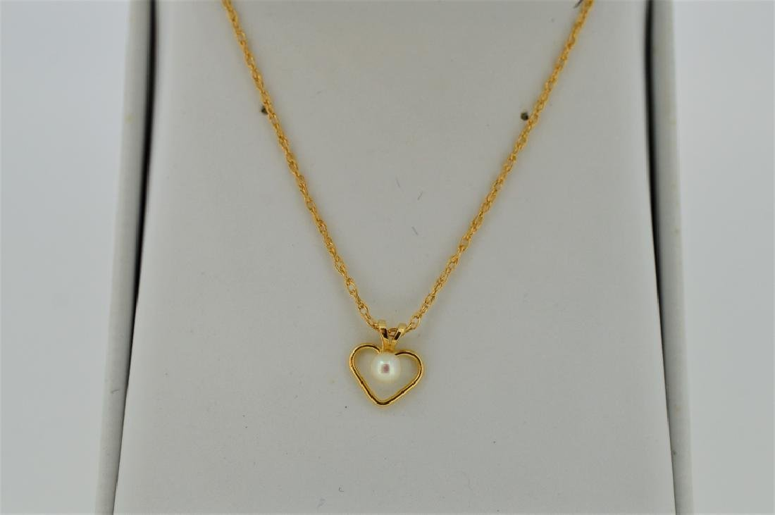 "16"" Gold Open Heart Necklace with Pearl"